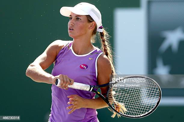 Yulia Putintseva of Kazakhstan plays Anna Ivanovic of Serbia during day six of the BNP Paribas Open at the Indian Wells Tennis Garden on March 14...