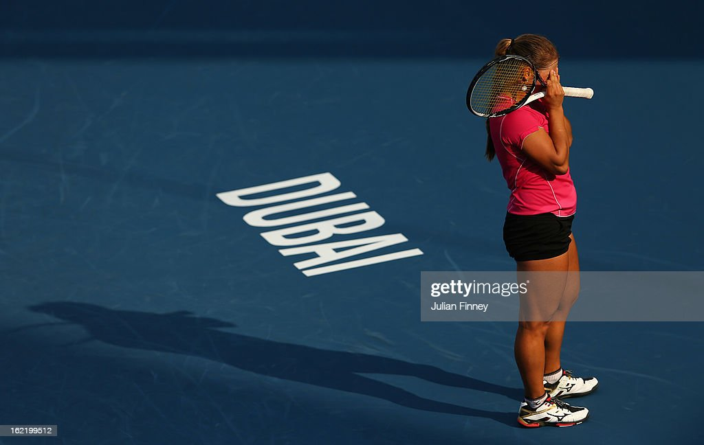 Yulia Putintseva of Kazakhstan puts her hands to her face in her match against Agnieszka Radwanska of Poland during day three of the WTA Dubai Duty Free Tennis Championship on February 20, 2013 in Dubai, United Arab Emirates.