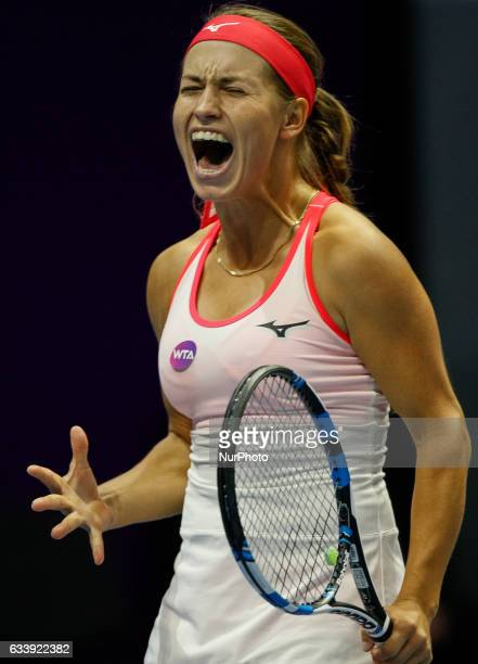 Yulia Putintseva of Kazakhstan reacts during her final match against Kristina Mladenovic of France at St Petersburg Ladies Trophy tennis tournament...