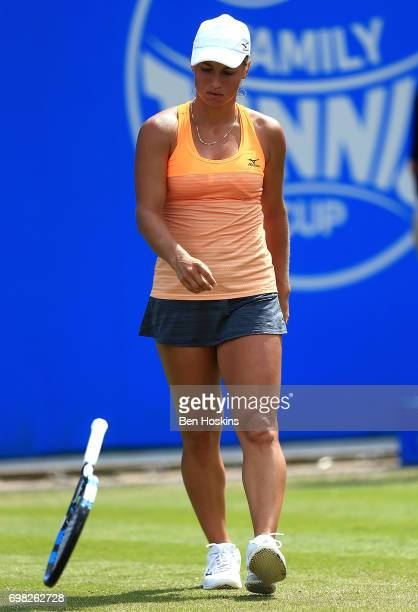 Yulia Putintseva of Kazakhstan reacts during the first round match against Barbora Strycova of The Czech Republic on day 1 of the Aegon Classic...