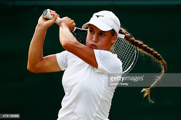 Yulia Putintseva of Kazakhstan returns a shot in her Ladies Singles Second Round match against Venus Williams of the United States during day three...