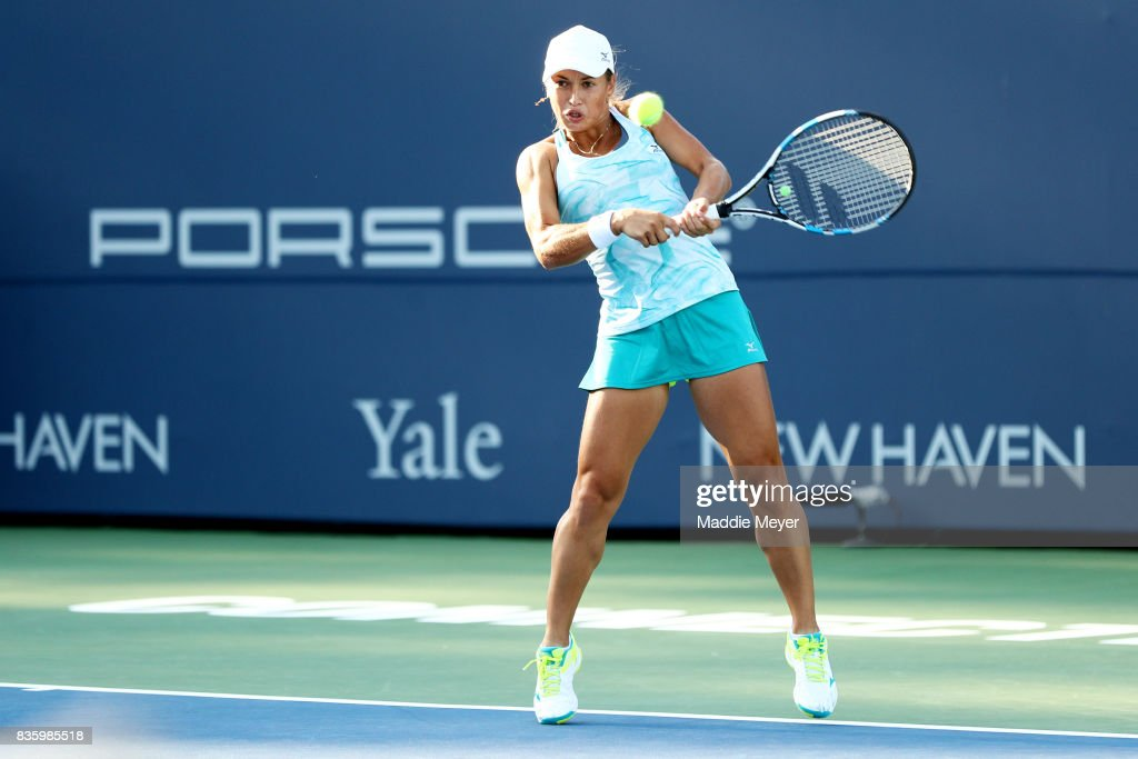 Yulia Putintseva of Kazakhstan returns a shot to Alize Cornet of France of during Day 3 of the Connecticut Open at Connecticut Tennis Center at Yale on August 20, 2017 in New Haven, Connecticut.