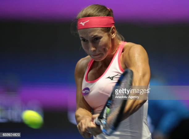 Yulia Putintseva of Kazakhstan returns the ball during her final match against Kristina Mladenovic of France at the StPetersburg Ladies Trophy 2017...