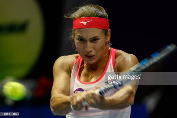 Yulia Putintseva of Kazakhstan returns the ball to Kristina Mladenovic of France during their final match at St Petersburg Ladies Trophy tennis...