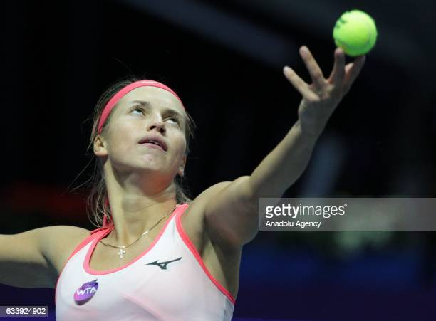 Yulia Putintseva of Kazakhstan serves during her final match against Kristina Mladenovic of France at the StPetersburg Ladies Trophy 2017 tennis...