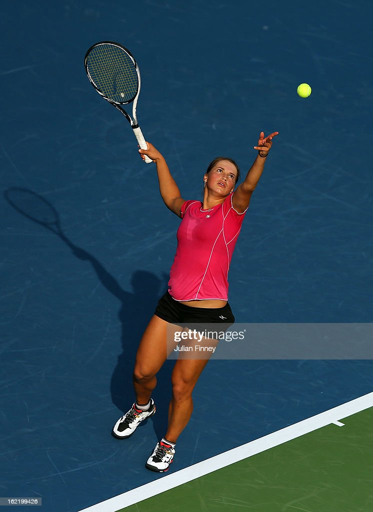 Yulia Putintseva of Kazakhstan serves to Agnieszka Radwanska of Poland during day three of the WTA Dubai Duty Free Tennis Championship on February 20, 2013 in Dubai, United Arab Emirates.