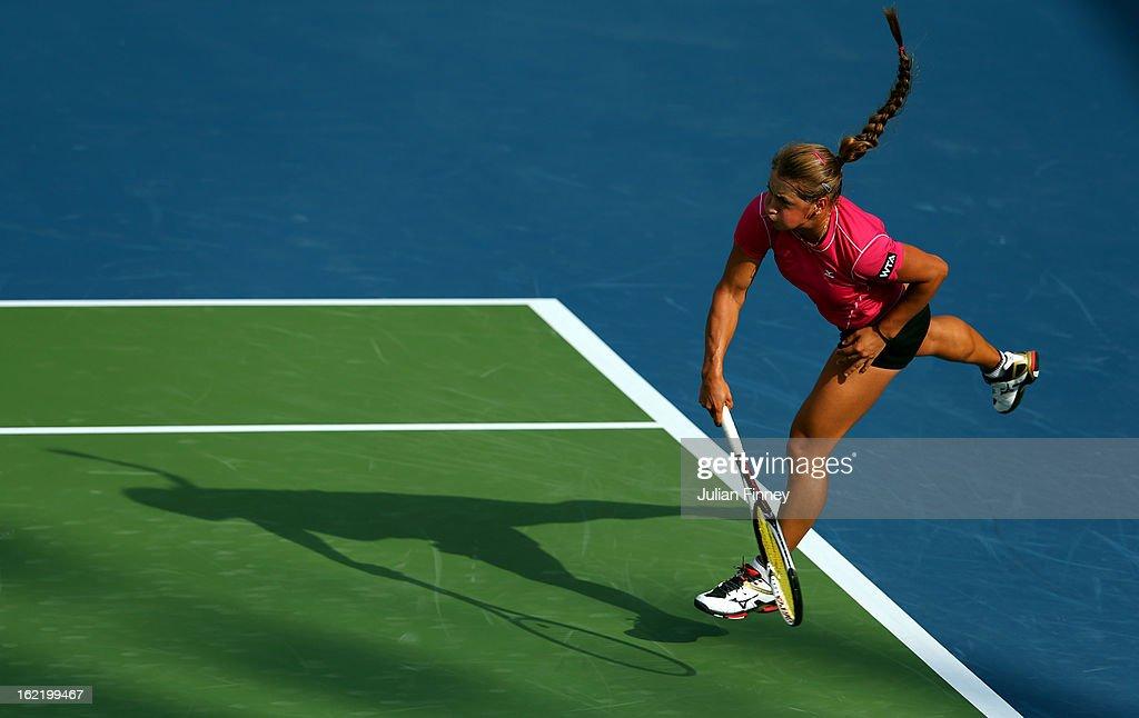 Yulia Putintseva of Kazakhstan serves to Agnieszka Radwanska of Poland during day three of the WTA Dubai Duty Free Tennis Championship on February 20, 2013 in Dubai, United Arab Emirates.