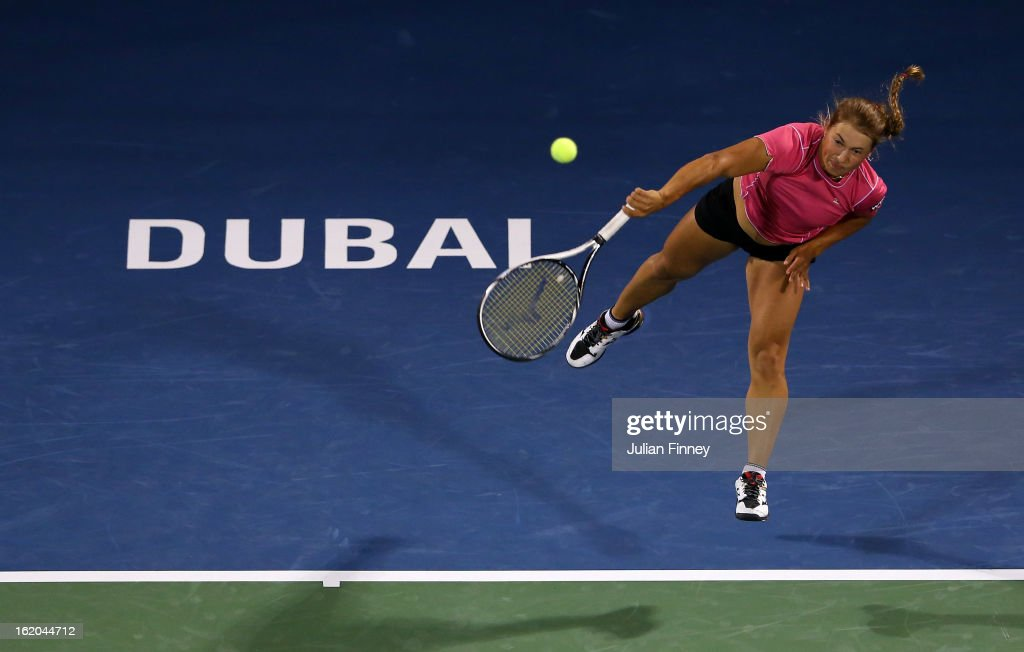 <a gi-track='captionPersonalityLinkClicked' href=/galleries/search?phrase=Yulia+Putintseva&family=editorial&specificpeople=6707401 ng-click='$event.stopPropagation()'>Yulia Putintseva</a> of Kazakhstan serves to Laura Robson of Great Britain during day one of the WTA Dubai Duty Free Tennis Championship on February 18, 2013 in Dubai, United Arab Emirates.
