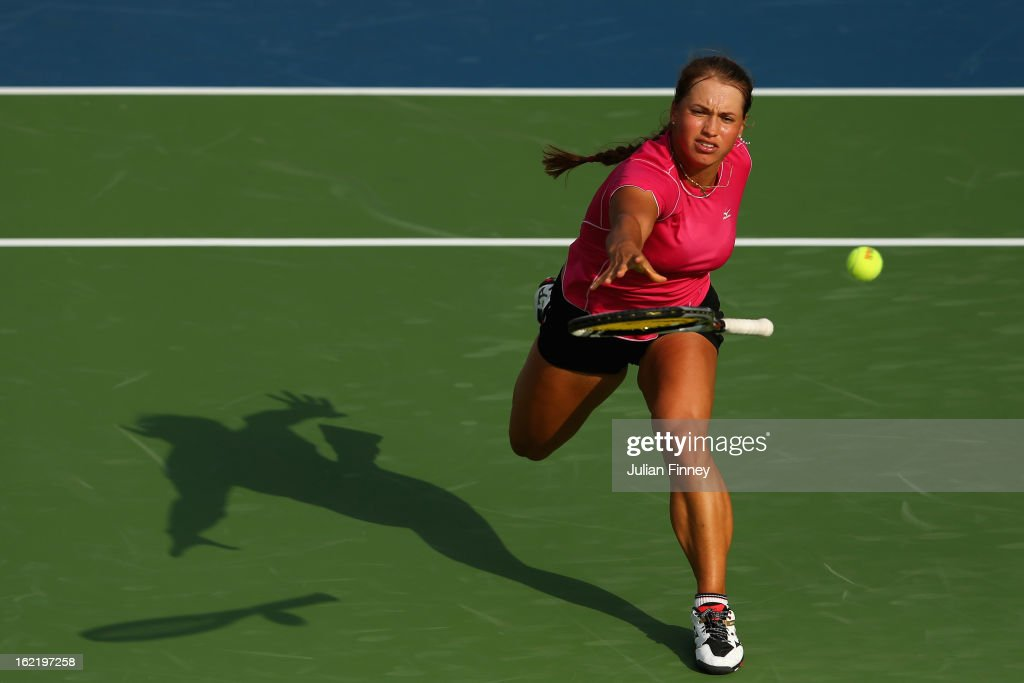 <a gi-track='captionPersonalityLinkClicked' href=/galleries/search?phrase=Yulia+Putintseva&family=editorial&specificpeople=6707401 ng-click='$event.stopPropagation()'>Yulia Putintseva</a> of Kazakhstan throws her racket in an attempt to return the ball against Agnieszka Radwanska of Poland during day three of the WTA Dubai Duty Free Tennis Championship on February 20, 2013 in Dubai, United Arab Emirates.