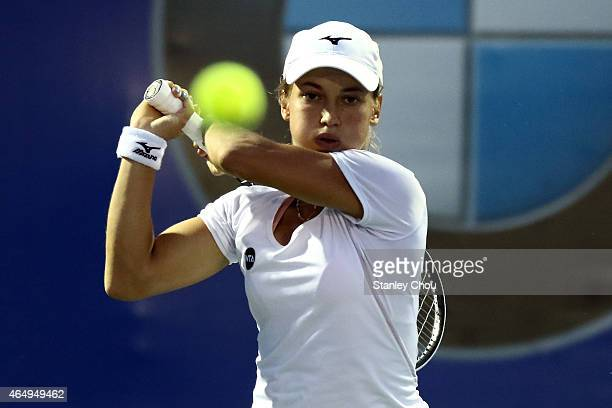 Yulia Putintseva of Kazakstan in action during day one of the BMW Malaysian Open at Royal Selangor Club on March 2 2015 in Kuala Lumpur Malaysia