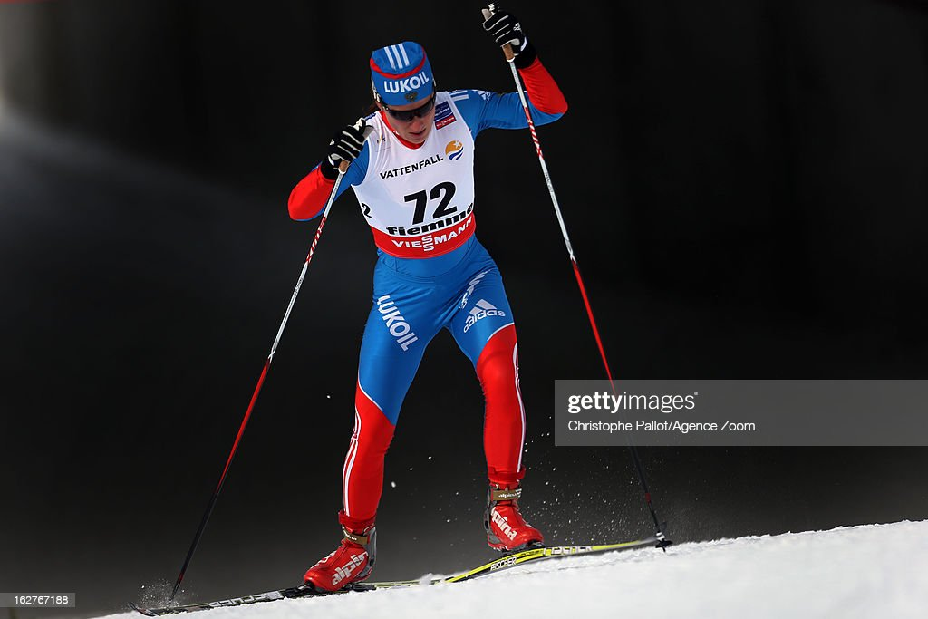 Yulia Tchekaleva of Russia competes during the FIS Nordic World Ski Championships Cross Country Women's Distance on February 26, 2013 in Val di Fiemme, Italy.