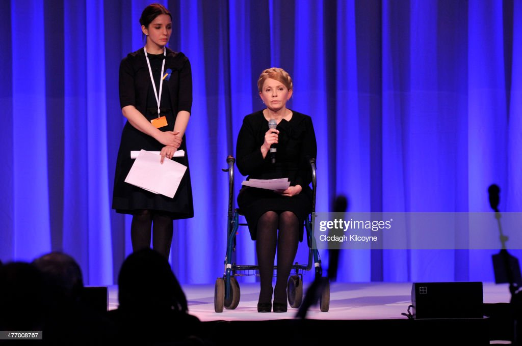 Yulia Tymoshenko leader of Batkivshchyna (Ukraine) speaks at the European People's Party Elections Congress 2014 at the Convention Centre on March 6, 2014 in Dublin, Ireland.