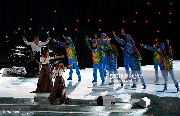 Yulia Volkova and Lena Katina of tATu perform during the Opening Ceremony of the Sochi Winter Olympics at the Fisht Olympic Stadium on February 7...