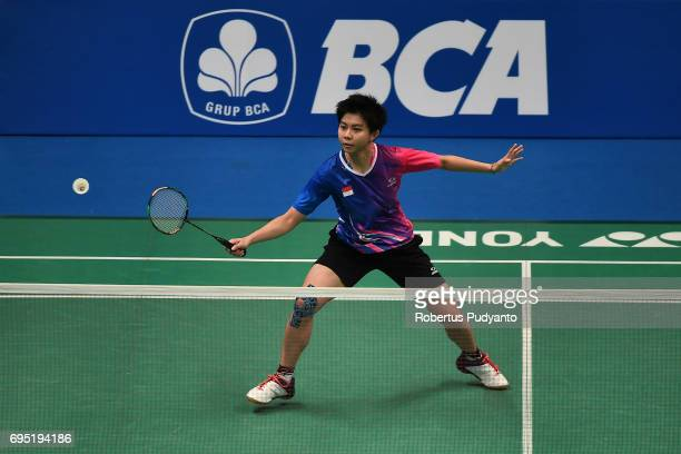 Yulia Yosephin Susanto of Indonesia competes against Pai Yu Po of Chinese Taipei during Womens single qualification round match of the BCA Indonesia...