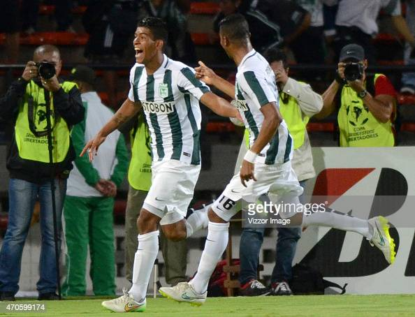 Yulian Mejia of Atletico Nacional celebrates after scoring during a match between Atletico Nacional and Libertad as part of Group 7 of Copa...