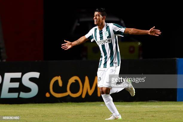 Yulian Mejia of Atletico Nacional celebrates after scoring the firs goal of his team during a match between Estudiantes and Atletico Nacional as part...
