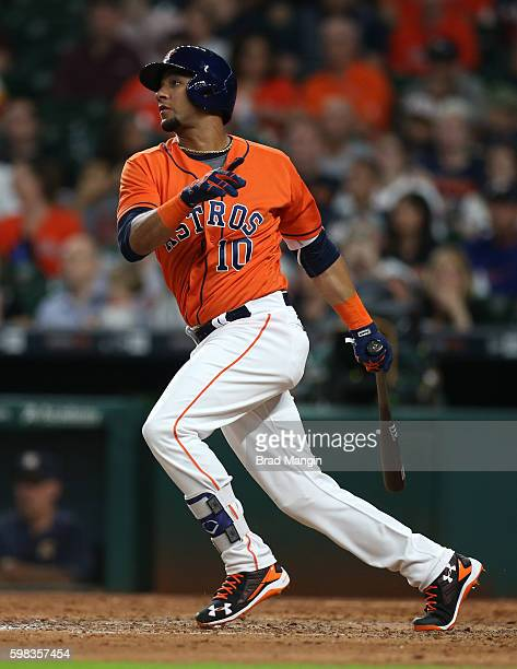 Yulieski Gurriel of the Houston Astros bats against the Tampa Bay Rays during the game at Minute Maid Park on Friday August 26 2016 in Houston Texas