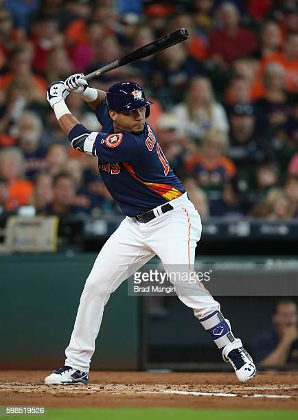 Yulieski Gurriel of the Houston Astros bats against the Tampa Bay Rays during the game at Minute Maid Park on Sunday August 28 2016 in Houston Texas