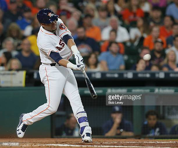 Yulieski Gurriel of the Houston Astros doubles in the second inning against the Tampa Bay Rays at Minute Maid Park on August 27 2016 in Houston Texas