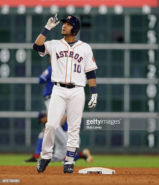 Yulieski Gurriel of the Houston Astros doublesin the eighth inning against the Texas Rangers at Minute Maid Park on September 14 2016 in Houston Texas
