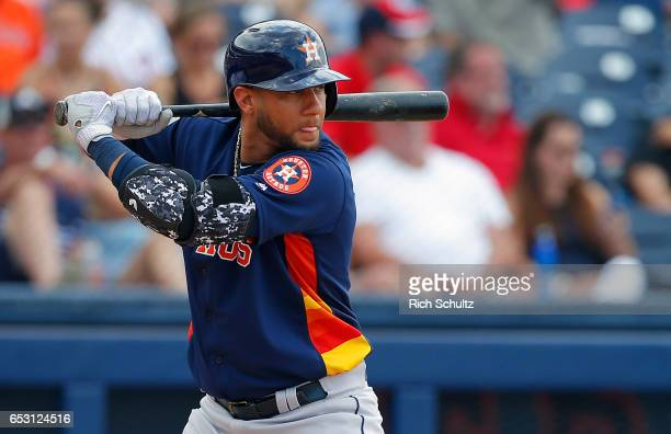 Yulieski Gurriel of the Houston Astros in action against the Washington Nationals during a spring training baseball game on March 12 2017 in West...
