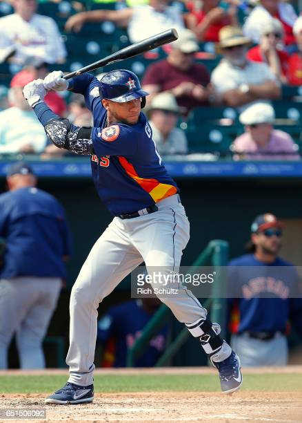 Yulieski Gurriel of the Houston Astros in action against the St Louis Cardinals during a spring training game at Roger Dean Stadium on March 9 2017...