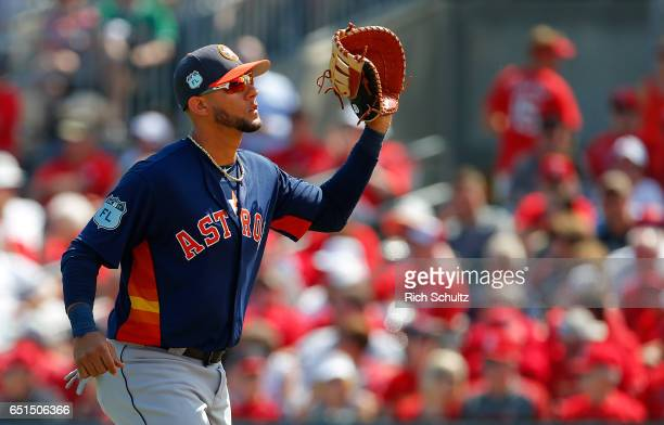 Yulieski Gurriel of the Houston Astros in action during a game against the St Louis Cardinals at Roger Dean Stadium on March 9 2017 in Jupiter Florida