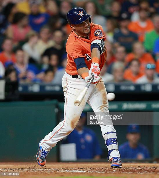Yulieski Gurriel of the Houston Astros singles in the seventh inning against the Chicago Cubs at Minute Maid Park on September 9 2016 in Houston Texas