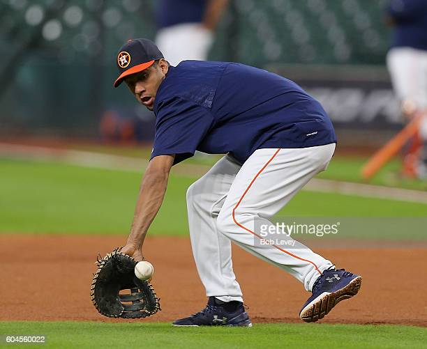 Yulieski Gurriel of the Houston Astros takes infield before playing the Texas Rangers at Minute Maid Park on September 13 2016 in Houston Texas