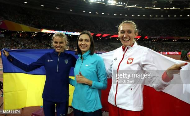 Yuliia Levchenko of Ukraine silver Maria Lasitskene of the Authorised Neutral Athletes gold and Kamila Licwinko of Poland bronze celebrate after the...