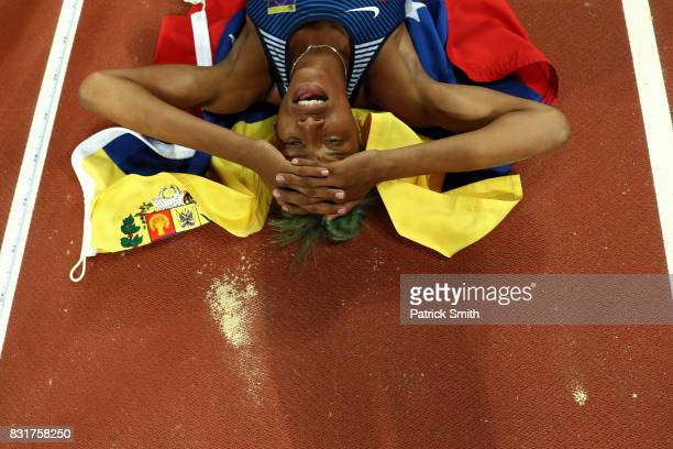 Yulimar Rojas of Venezuela celebrates after winning the the Women's Triple Jump final during day four of the 16th IAAF World Athletics Championships...