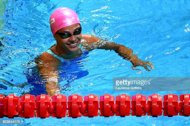 Yuliya Efimova of Russia celebrates during the Women's 200m Breaststroke semi final on day fourteen of the Budapest 2017 FINA World Championships on...