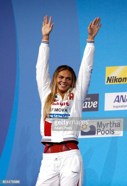 Yuliya Efimova of Russia celebrates her Silver medal in the Women's 50m Breastsroke Final on day seventeen of the Budapest 2017 FINA World...