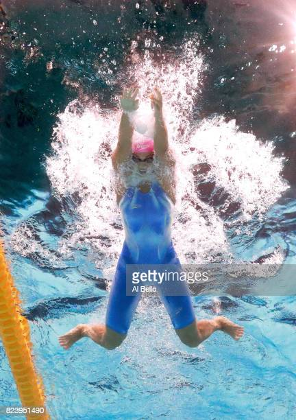 Yuliya Efimova of Russia competes during the Women's 200m Breaststroke final on day fifteen of the Budapest 2017 FINA World Championships on July 28...