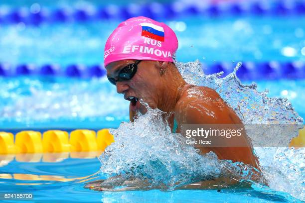 Yuliya Efimova of Russia competes during the Women's 50m Breaststroke heats on day sixteen of the Budapest 2017 FINA World Championships on July 29...