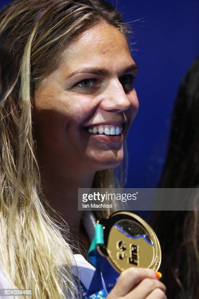 Yuliya Efimova of Russia is seen after she wins the Women's 200m Breaststroke final during day fiifteen of the FINA World Championships at the Duna...