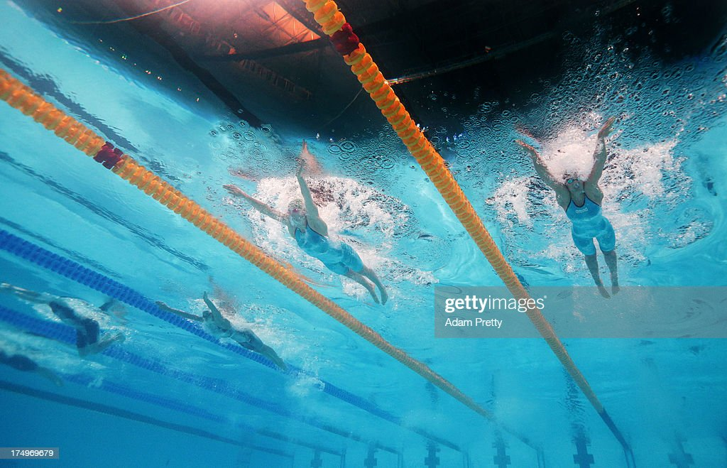 Yuliya Efimova of Russia, Ruta Meilutyte of Lithuania and Viktoria Solnceva of Ukraine compete during the Swimming Women's 100m Breaststroke Semifinal 2 on day ten of the 15th FINA World Championships at Palau Sant Jordi on July 29, 2013 in Barcelona, Spain.