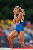 Yuliya Levchenko from Ukraine celebrates winning a bronze medal in women's high jump during the IAAF World U20 Championships at the Zawisza Stadium...