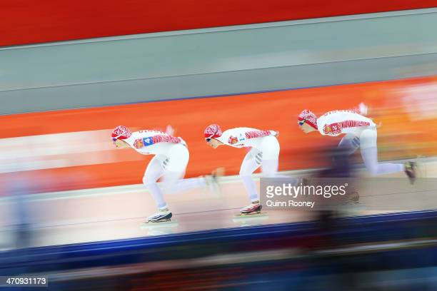 Yuliya Skokova Olga Graf and Yekaterina Lobysheva of Russia compete during the Women's Team Pursuit Quarterfinals Speed Skating event on day fourteen...