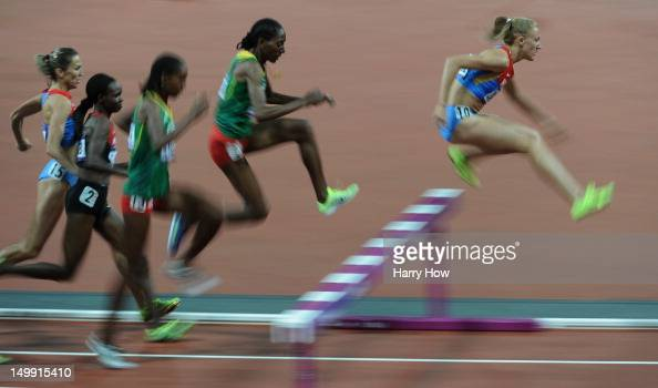 Yuliya Zaripova of Russia competes in the Women's 3000m Steeplechase final on Day 10 of the London 2012 Olympic Games at the Olympic Stadium on...
