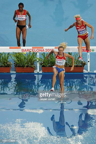 Yuliya Zarudneva of Russia and Marta Dominguez of Spain compete in the Womens 3000m Steeplechase Final during day four of the 20th European Athletics...