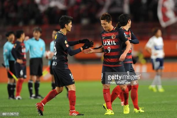 Yuma Suzuki and Shuto Yamamoto of Kashima Antlers celebrate their 10 victory after the JLeague J1 match between Kashima Antlers and Yokohama FMarinos...