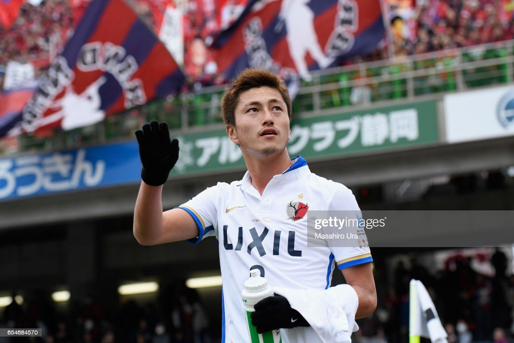 Yuma Suzuki of Kashima Antlers applauds after his side's 3-2 win in the J.League J1 match between Shimizu S-Pulse and Kashima Antlers at IAI Stadium Nihondaira on March 18, 2017 in Shizuoka, Japan.