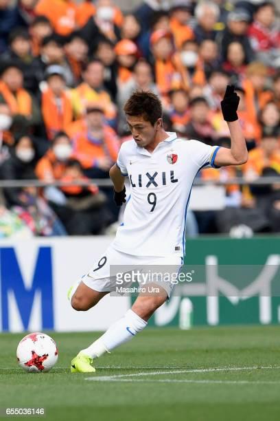 Yuma Suzuki of Kashima Antlers in action during the JLeague J1 match between Shimizu SPulse and Kashima Antlers at IAI Stadium Nihondaira on March 18...