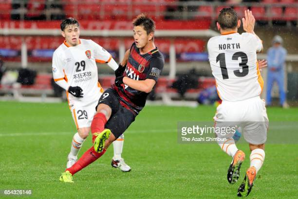 Yuma Suzuki of Kashima Antlers scores the opening goal with his team mates during the AFC Champions League Group E match between Kashima Antlers and...