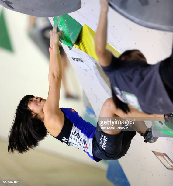 Yumeno Harigae of Japan competes in the Women's Bouldering during the IFSC Climbing Worldcup Hachioji at Esforta Arena Hachioji on May 6 2017 in...