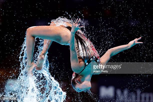 Yumi Adachi and Yukiko Inui of Japan compete during the Synchronized Swimming Duet Free Final on day six of the 15th FINA World Championships at...