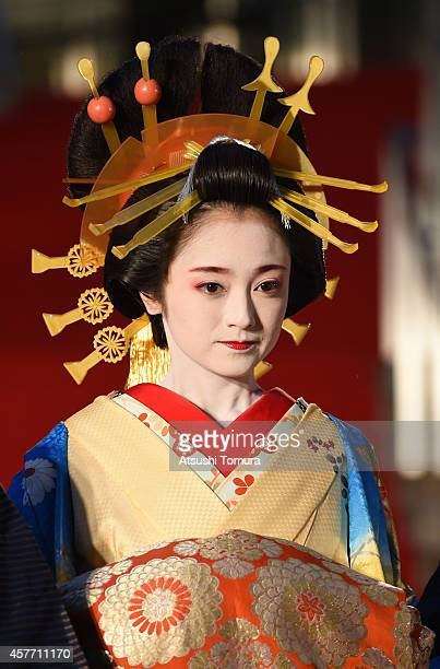 Yumi Adachi of Japan arrives at the opening ceremony during the 27th Tokyo International Film Festival at Roppongi Hills on October 23 2014 in Tokyo...