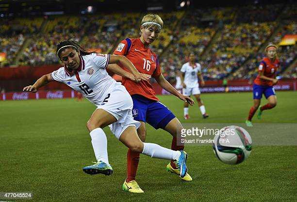 Yumi Kang of Korea is challenged by Lixy Rodriguez of Costa Rica during the FIFA Women's Wolrd Cup Group E match between Korea Republic and Costa...