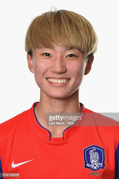 Yumi Kang of Korea Republic poses during the FIFA Women's World Cup 2015 portrait session at Sheraton Le Centre on June 6 2015 in Montreal Canada